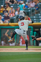 Luis Urias (3) of the El Paso Chihuahuas bats against the Salt Lake Bees at Smith's Ballpark on August 13, 2018 in Salt Lake City, Utah. Salt Lake defeated El Paso 4-3. (Stephen Smith/Four Seam Images)