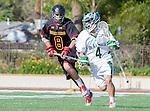 La Canada, CA 03/15/14 - Beau Botkiss (Torrey Pines #8) and Gio Rico (De La Salle #4) in action during the Torrey Pines vs De La Salle Boy's lacrosse game at St Francis High School in Pasadena.  Torrey Pines defeated De La Salle 10-6.