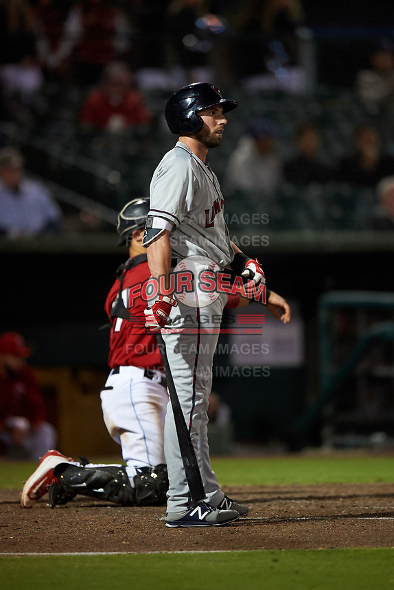 Lancaster JetHawks left fielder Vince Fernandez (8) at bat during a California League game against the Inland Empire 66ers at San Manuel Stadium on May 18, 2018 in San Bernardino, California. Lancaster defeated Inland Empire 5-3. (Zachary Lucy/Four Seam Images)