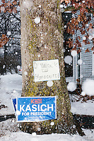 John Kasich - Campaign sign in snow - Derry, NH - 16 Jan 2016