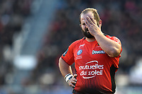 Levan Chilachava of Toulon looks dejected. European Rugby Champions Cup match, between RC Toulon and Bath Rugby on December 9, 2017 at the Stade Mayol in Toulon, France. Photo by: Patrick Khachfe / Onside Images