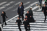 Roma, Città del Vaticano, 19-4-2005: la fumata bianca alle 18 annuncia al mondo e ai numerosi fedeli in attesa in piazza San Pietro che finalmente i cardinali hanno eletto il nuovo Papa.<br /> <br /> Fedeli corrono verso la piazza per conoscere il nuovo Papa.<br /> <br /> <br /> <br /> Rome, Vatican City, 19-4-2005: at 6 pm the white smoke signal annonces at the whole world that the new Pope has been elected by the cardinals reunited in Conclave and he will soon appear at the central window of the façade of Saint Peter's Basilica to bless the faithfuls.<br /> <br /> People run towards the square to know the new Pope.<br /> <br /> <br /> <br /> <br /> <br /> <br /> <br /> © Riccardo De Luca