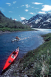 Alaska, Sea Kayakers, Kenai Fjords National Park, Pederson glacier, Kenai Peninsula, Alaska,.