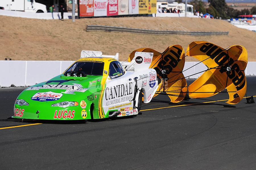 Jul. 24, 2009; Sonoma, CA, USA; NHRA funny car driver Jerry Toliver during qualifying for the Fram Autolite Nationals at Infineon Raceway. Mandatory Credit: Mark J. Rebilas-