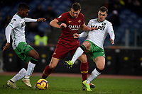 Marlon of Sassuolo , Edin Dzeko of AS Roma , Pol Lirola of Sassuolo compete for the ball during the Serie A 2018/2019 football match between AS Roma and Sassuolo at stadio Olimpico, Roma, December, 26, 2018 <br />  Foto Andrea Staccioli / Insidefoto
