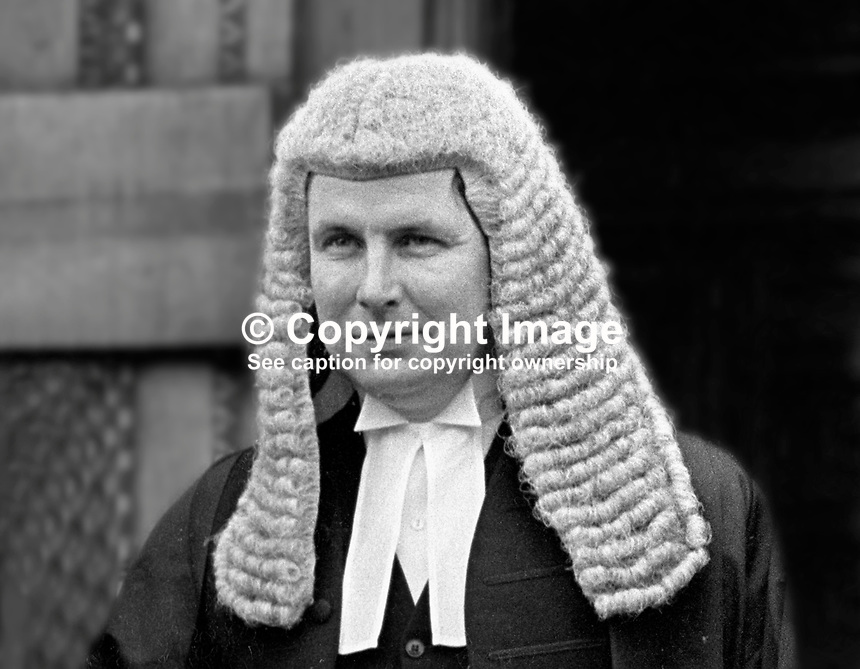 John Creaney, senior barrister, N Ireland, UK, photographed in January 1973 when he took silk. After graduation from Queen's University, Belfast, and a spell at Trinity College, Dublin, he became a pupil of Basil Kelly, who was later to become Lord Justice Kelly of the N Ireland Court of Appeal. As a senior prosecuting council from 1978 until his death in June 2008, Creaney participated in many important terrorist trials. 197301000058.<br />
