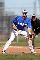 Buffalo Bulls first baseman Alex Baldock #9 during a game against the Bowling Green Falcons at Amherst Audubon Field on May 17, 2012 in Amherst, New York.  Buffalo defeated Bowling Green 14-0.  (Mike Janes/Four Seam Images)