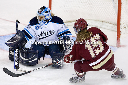 Brittany Ott (Maine - 29), Emily Field (BC - 15) - The visiting University of Maine Black Bears defeated the Boston College Eagles 5-2 on Sunday, October 30, 2011, at Kelley Rink in Conte Forum in Chestnut Hill, Massachusetts.