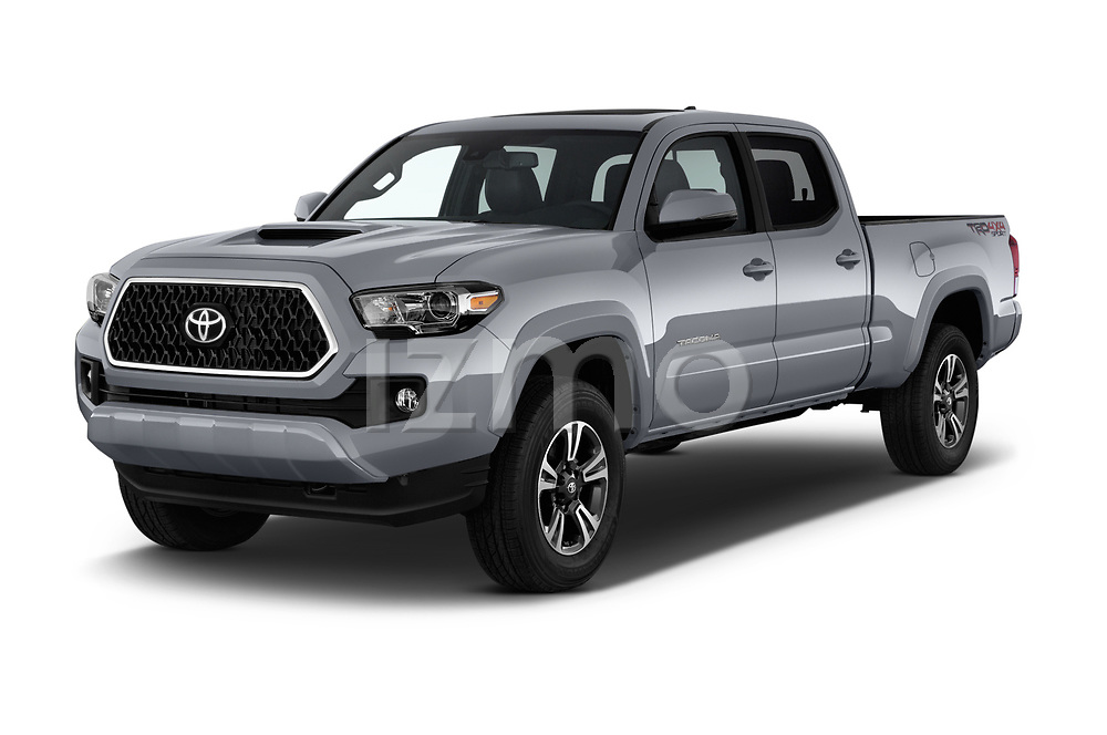2018 Toyota Tacoma TRD Sport Double Cab 4 Door Pick Up angular front stock photos of front three quarter view