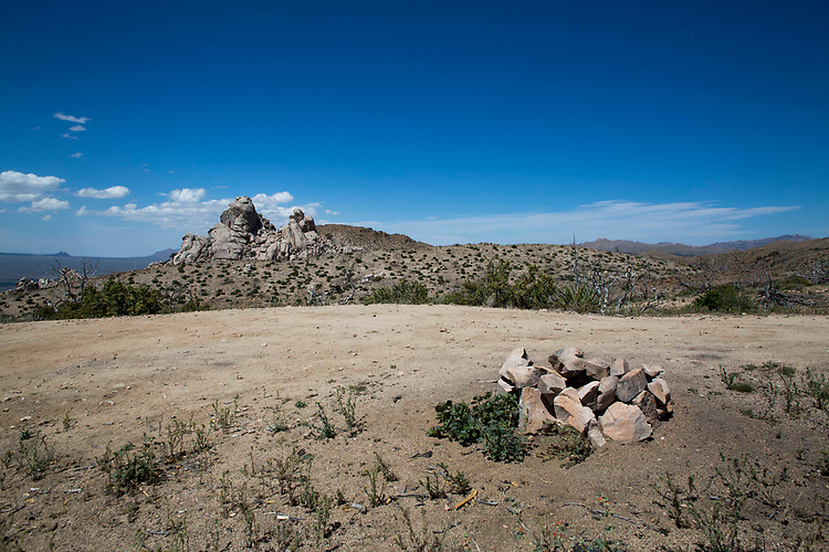 Dispersed camping with view of Eagle Rocks, May 6, 2017 near  Mid Hills campground in the Mojave National Preserve near Baker, California. (Gerard Burkhart Photo)