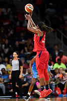 Washington, DC - September 8, 2019: Washington Mystics forward Myisha Hines-Allen (2) hits from downtown during game between the Chicago Sky and Washington Mystics at the Entertainment and Sports Arena in Washington, DC. The Mystics locked up the #1 seed in the Playoffs by defeating the Sky 100-86. (Photo by Phil Peters/Media Images International)