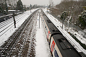 Intercity train following a snowfall, Cricklewood, London.