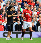 Zlatan Ibrahimovic of Manchester United is confronted by a look a like during the Premier League match at Old Trafford Stadium, Manchester. Picture date: September 24th, 2016. Pic Sportimage