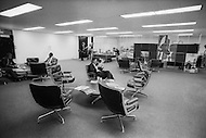 New York City, New York, NOV 1972: Interior of the recently constructed World Trade Center. In attempts to fill the empty office spaces, an employment agency existed to hire security guards and maintainence men to work.