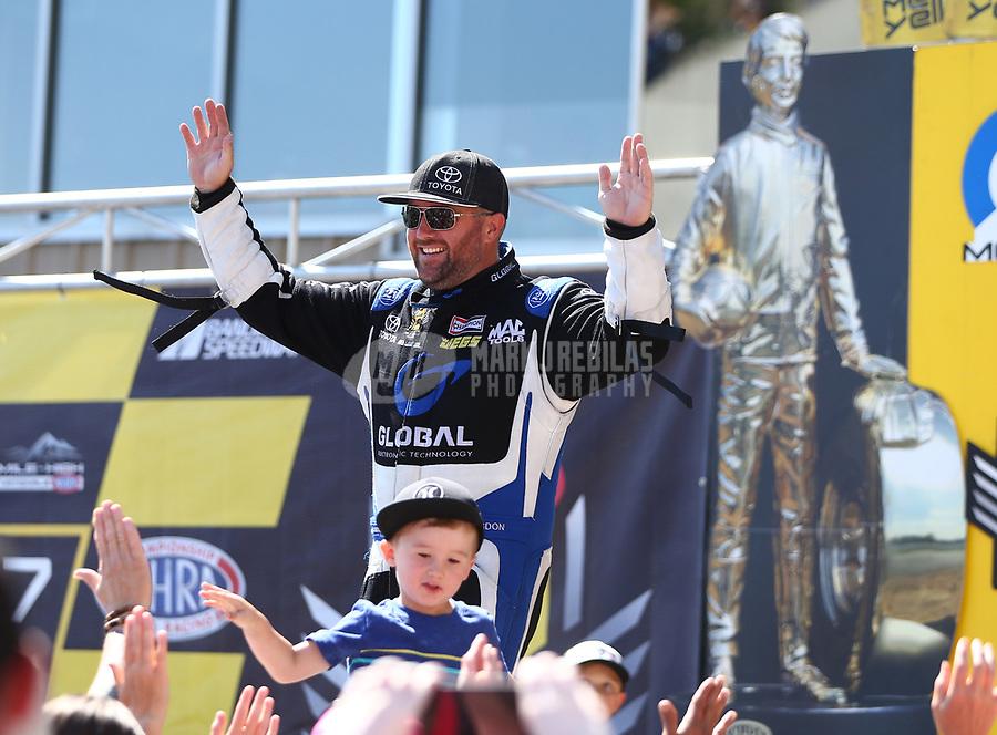 Jul 23, 2017; Morrison, CO, USA; NHRA top fuel driver Shawn Langdon during the Mile High Nationals at Bandimere Speedway. Mandatory Credit: Mark J. Rebilas-USA TODAY Sports