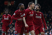 17th March 2019, Craven Cottage, London, England; EPL Premier League football, Fulham versus Liverpool; James Milner of Liverpool celebrates as he scores for 1-2 from a penalty in the 81st minute