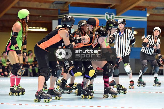 NELSON, NEW ZEALAND - OCTOBER 8: Roller Derby Sirens v Hellmilton Roller Ghouls, Nelson Skate Rink, Nelson, New Zealand, Saturday 8 October (Photo by: Barry Whitnall Shuttersport Limited)