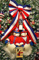 Christmas wreath with American flag theme. Providence Festival of Trees. Portland. Oregon