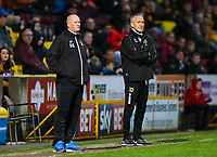 MK Dons assistant manager Keith Millen & Bradford City Manager Simon Grayson during the Sky Bet League 1 match between Bradford City and MK Dons at the Northern Commercial Stadium, Bradford, England on 24 April 2018. Photo by Thomas Gadd.