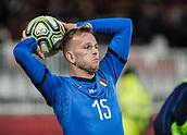 27th March 2018, Karadjorde Stadium, Novi Sad, Serbia; Under 21 International Football Friendly, Serbia U21 versus Italy U21; Defender Lorenzo Dickmann of Italy takes a throw-in