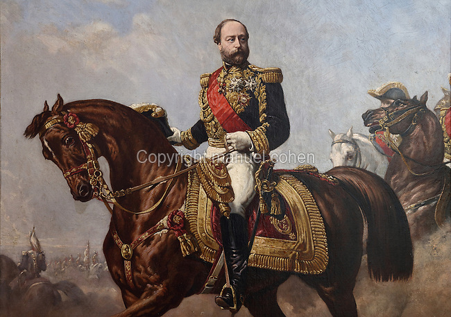 Equestrian portrait of Henri, Count of Chambord, painted c. 1870 by Louis Etienne Porion, 1814-68, purchased by the State in 1977, in the Chateau de Chambord, designed by Domenico da Cortona and built 1519-47 in French Renaissance style under King Francois I, at Chambord, Loir-et-Cher, France. The Count is shown in full military uniform with the Order of the Holy Spirit and the Order of St Michael and with the gala harness which now forms part of the collection of the Domaine de Chambord. The chateau was listed as a UNESCO World Heritage Site in 1981. Picture by Manuel Cohen