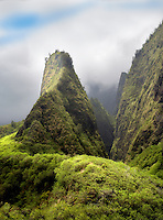 Iao Needle through the clouds. Iao State Park. Maui