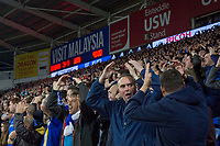 Cardiff fans celebrate with the traditional Ayatollah during the Sky Bet Championship match between Cardiff City and Leeds United at the Cardiff City Stadium, Cardiff, Wales on 26 September 2017. Photo by Mark  Hawkins / PRiME Media Images.
