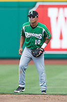 Dayton Dragons second baseman Sammy Diaz #10 during a Midwest League game against the Fort Wayne TinCaps at Parkview Field on August 19, 2012 in Fort Wayne, Indiana.  Dayton defeated Fort Wayne 5-1.  (Mike Janes/Four Seam Images)