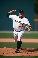 GCL Pirates pitcher Adam Miller (59), on rehab assignment, delivers a pitch during the first game of a doubleheader against the GCL Yankees 2 on July 31, 2015 at the Pirate City in Bradenton, Florida.  GCL Pirates defeated the GCL Yankees 2 2-1.  (Mike Janes/Four Seam Images)
