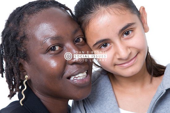 Young girl and woman together,