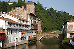 Riverside, St Jean Pied de Port, Basque Country, Pyrenees-Atlantiques, Aquitaine, France