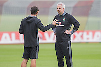 Performance coach Ryland Morgans and Kit Symonds during the Wales open Training session ahead of the opening FIFA World Cup 2018 Qualification match against Moldova at The Vale Resort, Cardiff, Wales on 31 August 2016. Photo by Mark  Hawkins / PRiME Media Images.