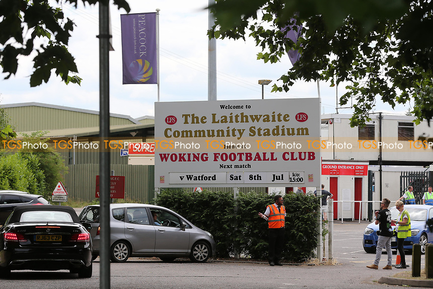 Entrance to Woking FC showing today's opponents and kick-off time during Woking vs Watford, Friendly Match Football at The Laithwaite Community Stadium on 8th July 2017