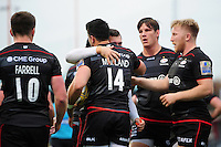 Sean Maitland of Saracens is congratulated on his first half try. Aviva Premiership match, between Saracens and Leicester Tigers on October 29, 2016 at Allianz Park in London, England. Photo by: Patrick Khachfe / JMP