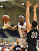 Dami Awosika #32 of South Side, left, looks to drive to the net as Zach Bromfeld #33 of Hewlett defends during the Nassau County varsity boys basketball Class A semifinals at Hofstra University in Hempstead, NY on Wednesday, March 1, 2017. Awosika scored 11 of his 16 points in the second quarter of South Side's 58-46 win.