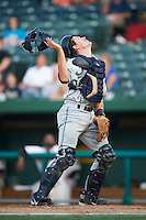 West Michigan Whitecaps catcher Zach Maggard #27 during a Midwest League game against the South Bend Silver Hawks at Coveleski Stadium on August 15, 2012 in South Bend, Indiana.  West Michigan defeated South bend 7-1.  (Mike Janes/Four Seam Images)