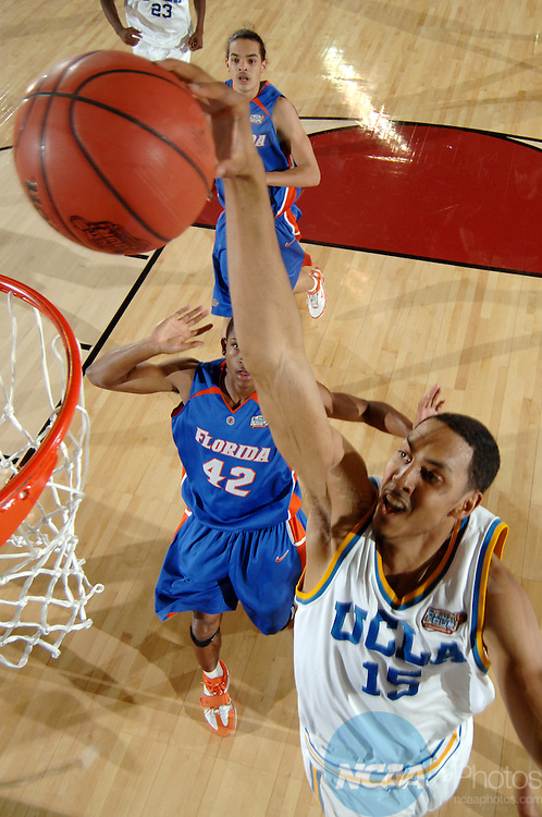 3 APR 2006:  Ryan Hollins (15) of UCLA dunks the ball during the Division I Men's Final Four Championship Game held at the RCA Dome in Indianapolis, IN. The Florida Gators went on to defeat the UCLA Bruins 73-57 to claim the championship title. Ryan McKee/NCAA Photos