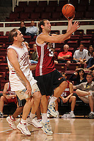 STANFORD, CA - SEPTEMBER 20:  Former basketball players participate in the annual alumni game at Maples Pavilion on September 20, 2008 in Stanford, California. Pictured are Peter Sauer and Earl Koberlein.