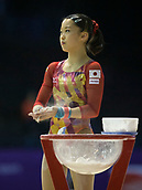 22nd March 2018, Arena Birmingham, Birmingham, England; Gymnastics World Cup, day two, womens competition; Hitomi Hatakeda (JPN) rubbing chalk on her hands during the warm up before the competition