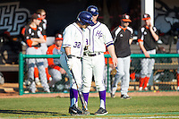 Dominic Fazio (32) of the High Point Panthers gets instructions from third base coach Rich Wallace (39) during the game against the Bowling Green Falcons at Willard Stadium on March 9, 2014 in High Point, North Carolina.  The Falcons defeated the Panthers 7-4.  (Brian Westerholt/Four Seam Images)