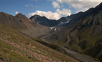 August 9, 2004, 3:37 PM, Glacier at head of East Fork Teklanika River in Denali National Park, Alaska by Ron Karpilo.  Repeat of Capps August 20, 1919 image 929.