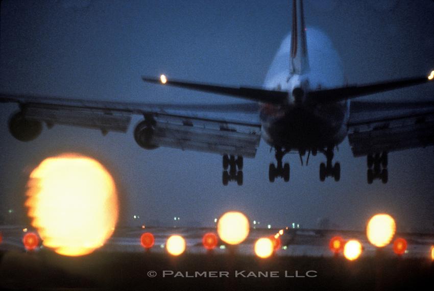 747 Landing at dusk at O'Hare airport, Chicago USA