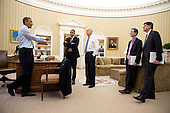 "Dec. 31, 2012.""The President gives direction on the fiscal cliff negotiations to Rob Nabors, Assistant to the President for Legislative Affairs; the Vice President; Bruce Reed, Chief of Staff to the Vice President, and Chief of Staff Jack Lew in the Oval Office."" .Mandatory Credit: Pete Souza - White House via CNP"