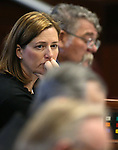 Nevada Sen. Becky Harris, R-Las Vegas, works on the Senate floor at the Legislative Building in Carson City, Nev., on Monday, March 23, 2015. <br /> Photo by Cathleen Allison
