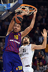 Turkish Airlines Euroleague 2018/2019. <br /> Regular Season-Round 16.<br /> FC Barcelona Lassa vs Darussafaka Tekfen Istanbul: 97-65.<br /> Pierre Oriola vs Zanis Peiners.
