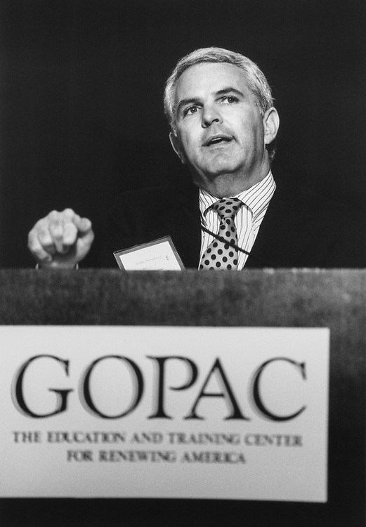 Rep. John Shadegg, R-Ariz., chair at Global Organization of Parliamentarians Against Corruption conference, on April 25, 1996. (Photo by Laura Patterson/CQ Roll Call via Getty Images)
