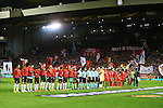 The sides line up during the UEFA Europa League match at Anfield. Photo credit should read: Philip Oldham/Sportimage