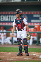 Harrisburg Senators catcher Raudy Read (8) during a game against the Akron RubberDucks on August 19, 2018 at FNB Field in Harrisburg, Pennsylvania.  Akron defeated Harrisburg 3-0 in a rain shortened game.  (Mike Janes/Four Seam Images)