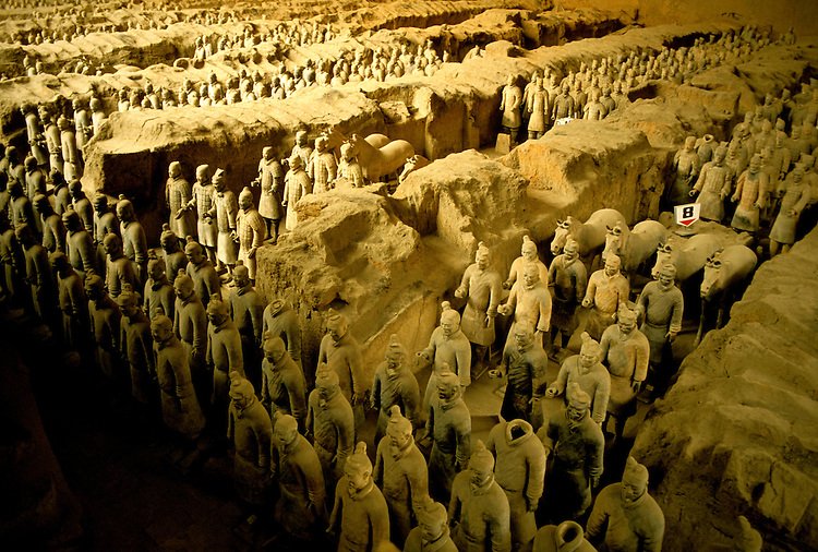 China: The Terracotta warriors of Xian, Tomb of Qin Shi.  Photo: chinas101    .Photo copyright Lee Foster, 510/549-2202, lee@fostertravel.com, www.fostertravel.com