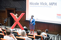 "Nicole Vick, Non-Tenure Track Instructor, Urban & Environmental Policy and Los Angeles County Department of Public Health Program Analyst talks about ""Seeing Faces and Not Just Numbers.""<br /> Occidental College hosts TEDxOccidentalCollege on April 21, 2018 in Choi Auditorium of Johnson Hall. Students, faculty, alums and guest speakers delivered their TEDx Talk on the theme, Shifting Ecosystems of Power.<br /> (Photo by Marc Campos, Occidental College Photographer)"